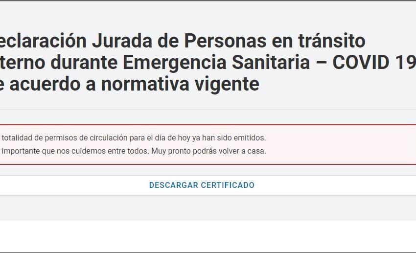 """Suspenden la emisión del permiso """"vuelta a casa"""" para personas varadas"""