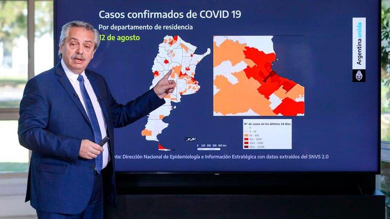 Los gráficos que usó el Fernández para explicar la nueva etapa de la cuarentena