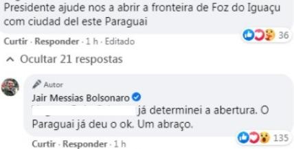 Bolsonaro confirmó vía Facebook la reapertura del Puente de la Amistad